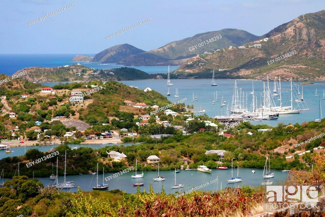 Stock Photo: Falmouth bay and english harbour, Antigua.