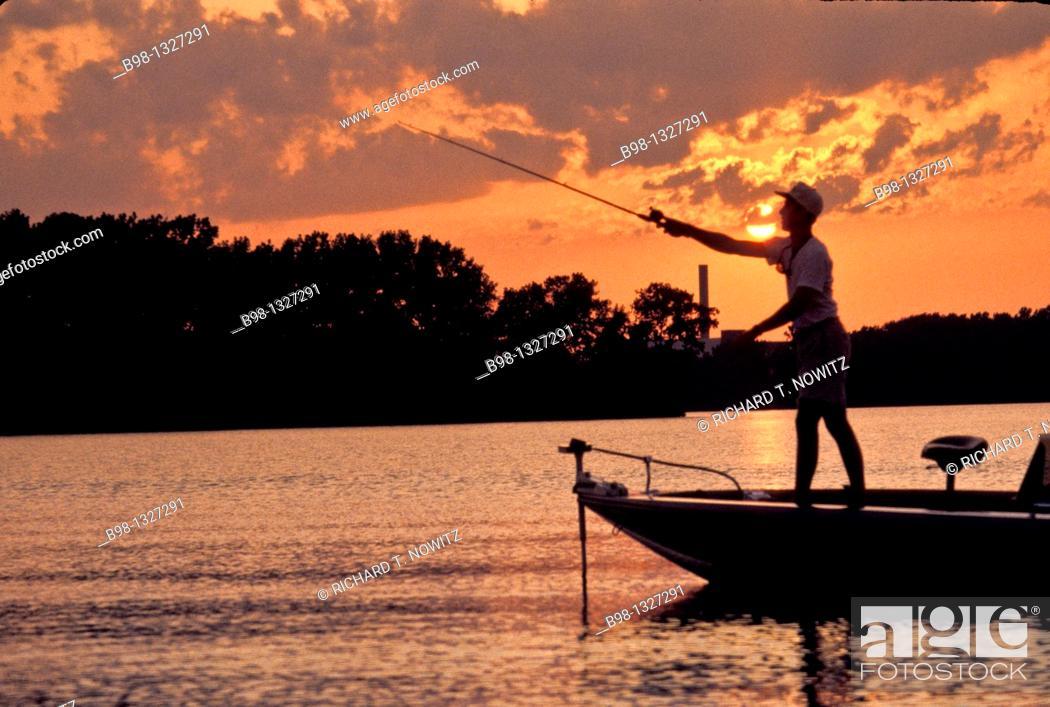 Stock Photo: Fishing on James River, Richmond, Virginia.