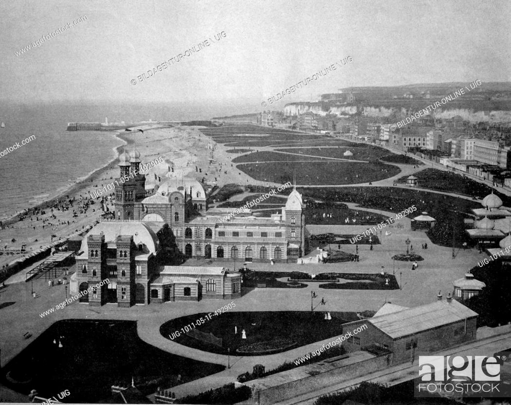 Stock Photo: One of the first autotypes of the beach and casino in dieppe, france, historical photograph, 1884.