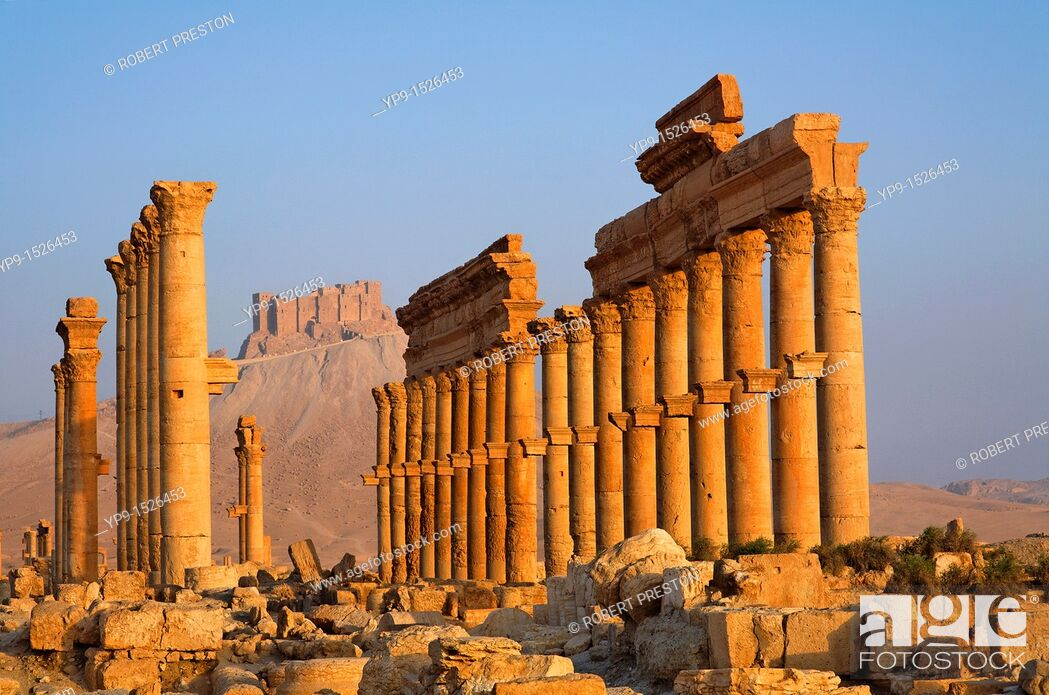 Imagen: The Colonnaded Street and the Arab Castle, Palmyra, Syria.
