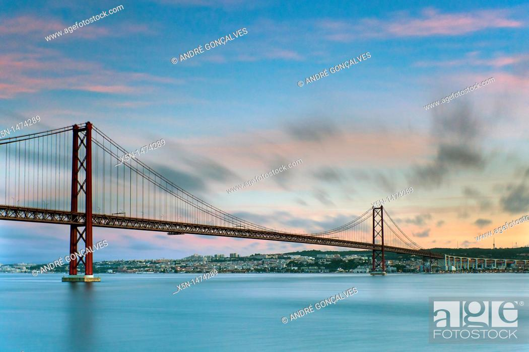 Stock Photo: 25th of April Bridge, Lisbon, Portugal, Europe.