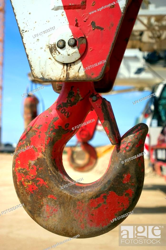 Stock Photo: Crane hooks on the front crane vehicles.