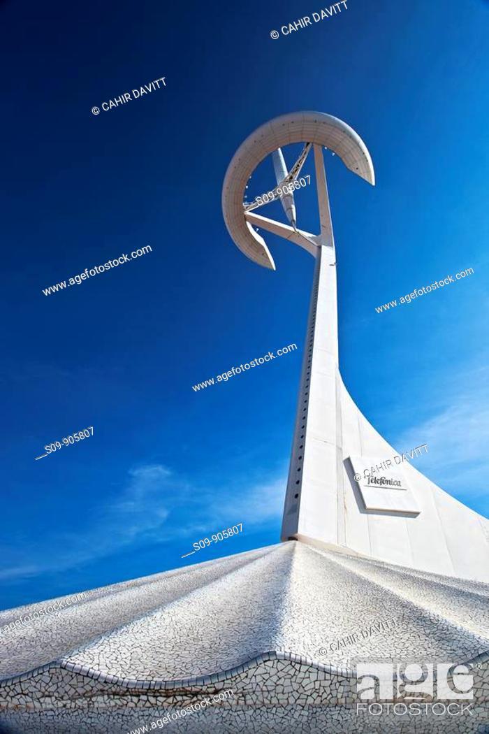 Stock Photo: Spain, Cataluna, Barcelona, Santa Eulalia, Sants Montjuic, view of the Telefonica Olympic TV Tower designed by the Architect Santiago Calatrava.