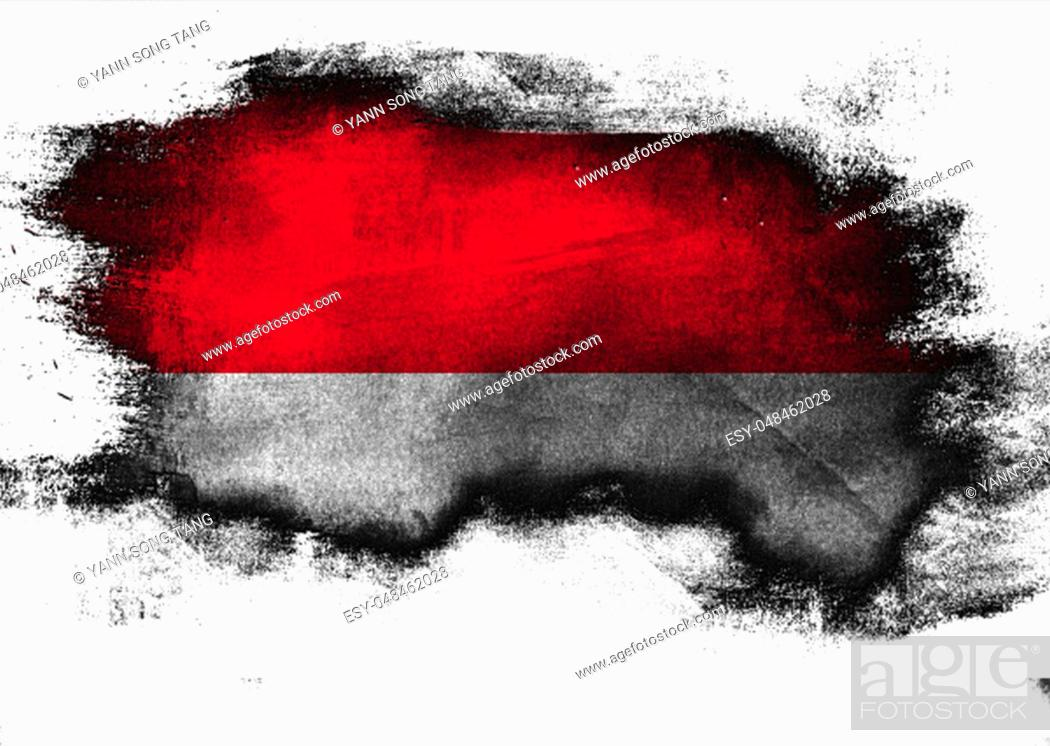 Stock Photo: Indonesia flag painted with brush on white background, 3D rendering.