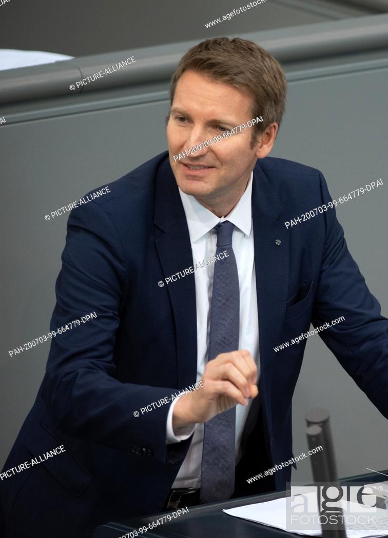 Stock Photo: 03 July 2020, Berlin: Patrick Sensburg (CDU) speaks in the plenary session of the German Bundestag. The main topics of the 171st session of the 19th legislative.