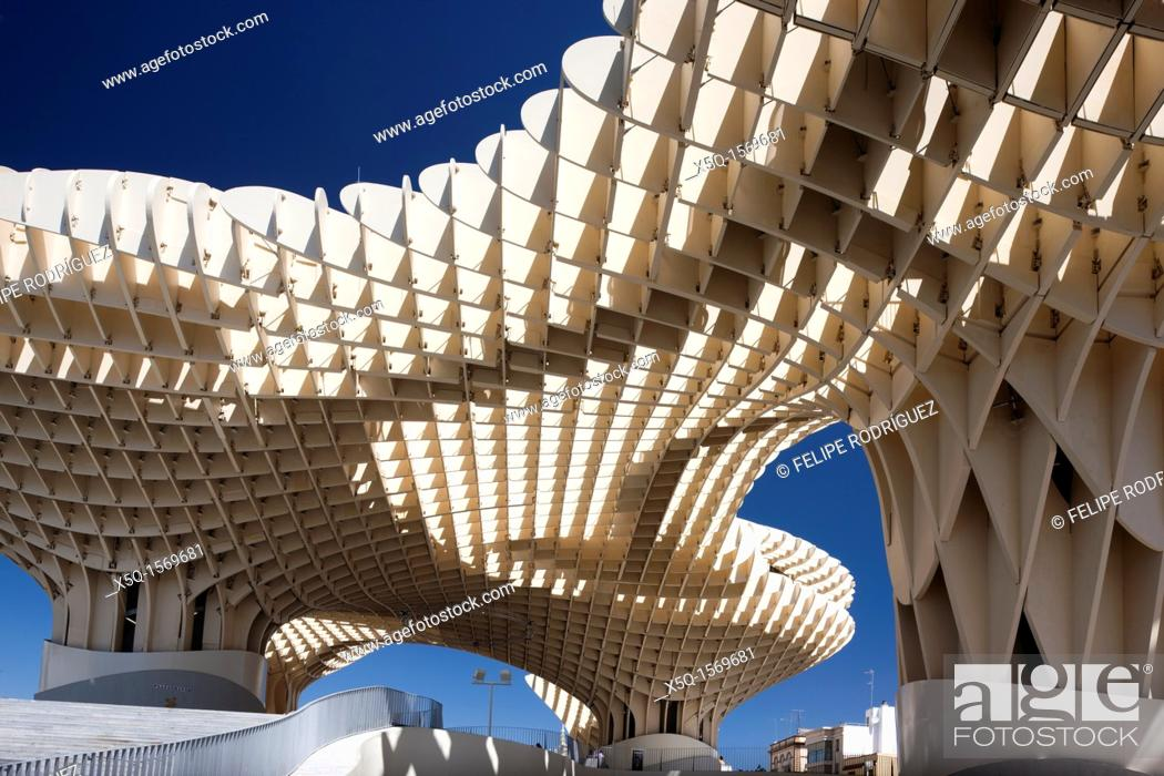 Stock Photo: Metropol Parasol building, Seville, Spain.