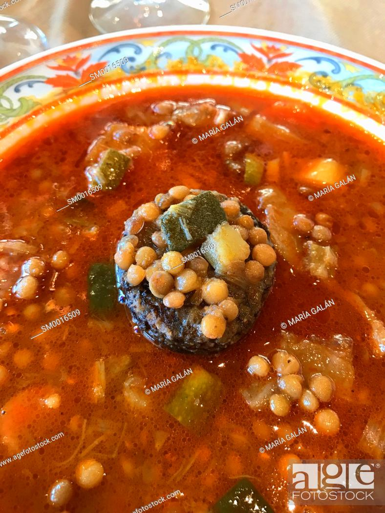 Stock Photo: Lentils stew with morcilla and vegetables. Burgos, Spain.