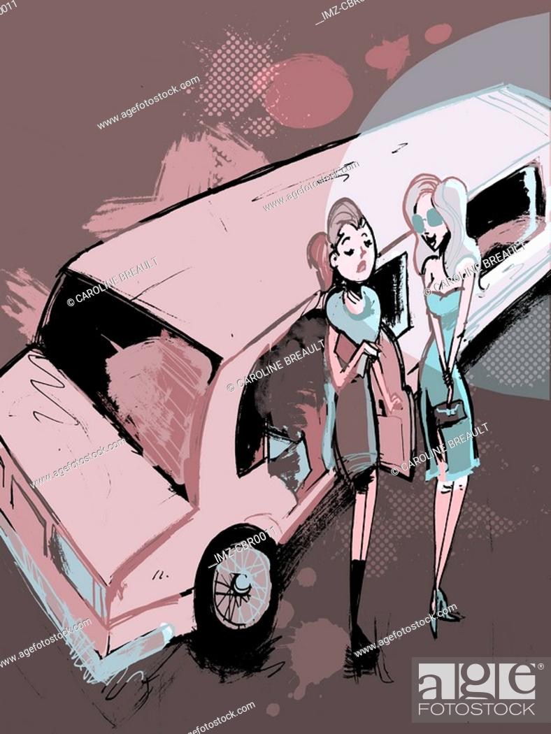 Stock Photo: Two women getting out of a limousine.