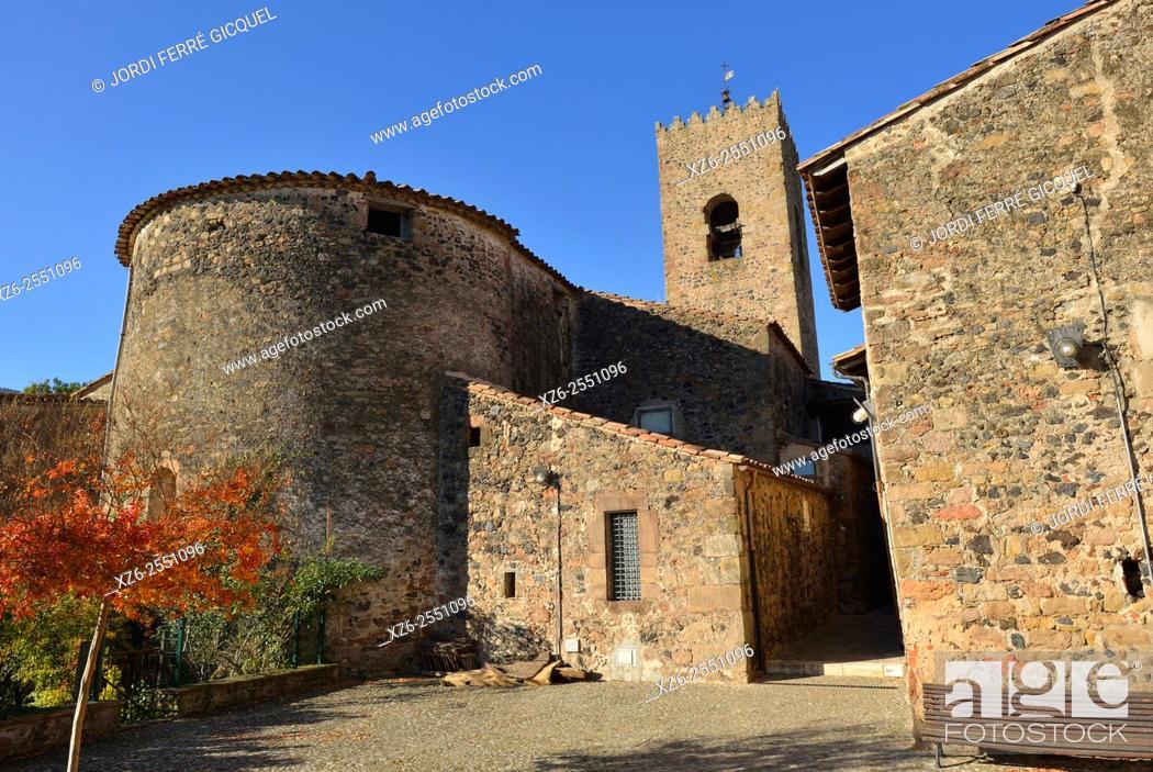 Stock Photo: Parish Church of Santa Maria in the medieval town of Santa Pau, La Garrotxa, Catalonia, Spain, Europe.