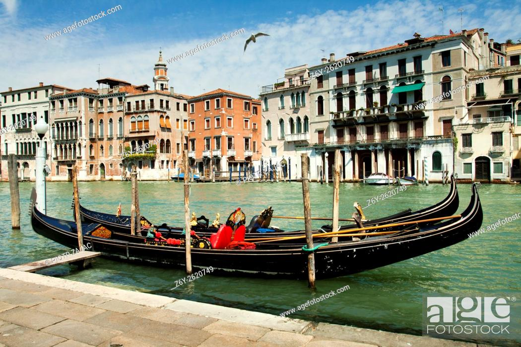 Stock Photo: Moored gondolas on Canal Grande in Venice, Italy.
