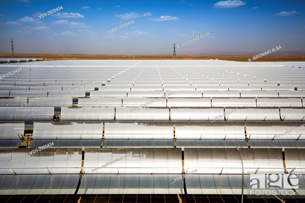 Stock Photo: Solar thermal sustainable energy, Noor Ouarzazate Concentrated Solar Power Station Complex. Morocco, Maghreb North Africa.
