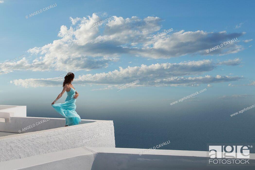 Stock Photo: Woman, Santorini, Cyclades, Greece.