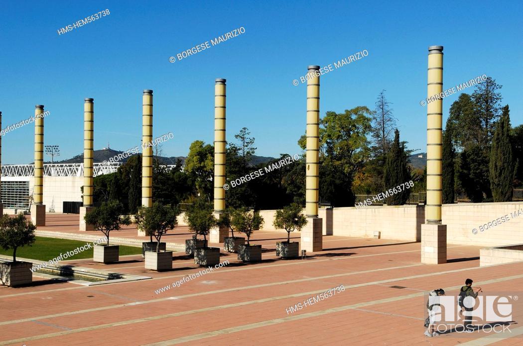Stock Photo: Spain, Catalonia, Barcelona, Montjuic, the Olympic Esplanade.