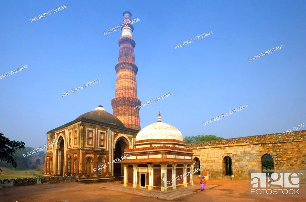 Stock Photo: The Alai minaret in the Qutb Minar Complex, New Delhi City, India, Asia.