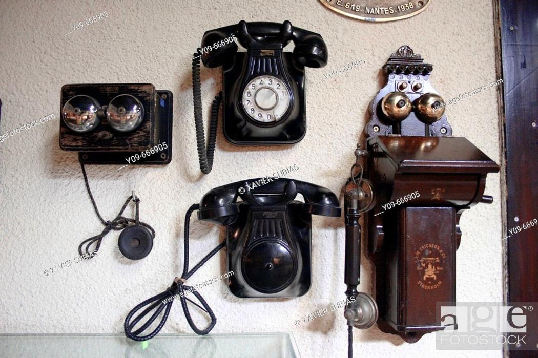 Stock Photo: Different telephone models for railroad use.