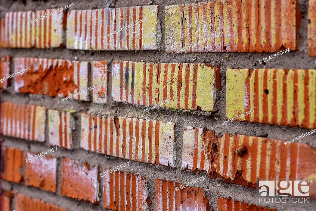 Stock Photo: Texture red brick wall of the garage.