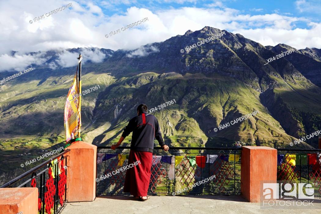 Stock Photo: View from Shashur Gompa, Lahaul Valley, Keylong, Himachal Pradesh, India.