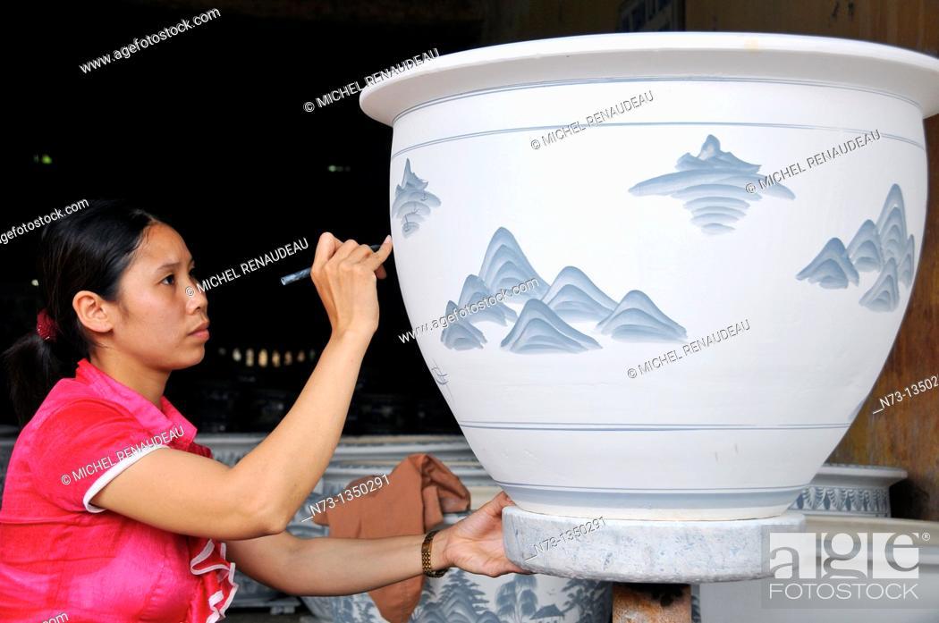 Stock Photo: Vietnam, Hanoi region, ceramics workshop.
