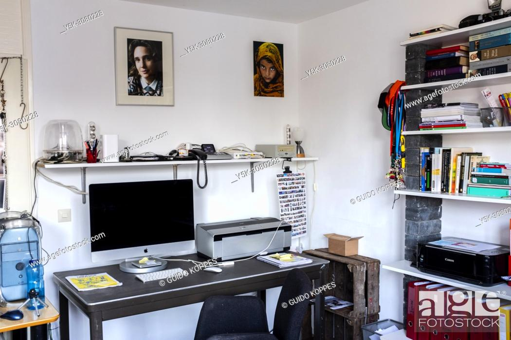 Stock Photo: Tilburg, Netherlands. Photographers residential Workplace inside a Studio with all nessesary applyances.