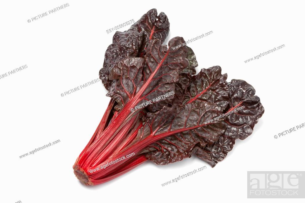 Photo de stock: Fresh red chard on white background.