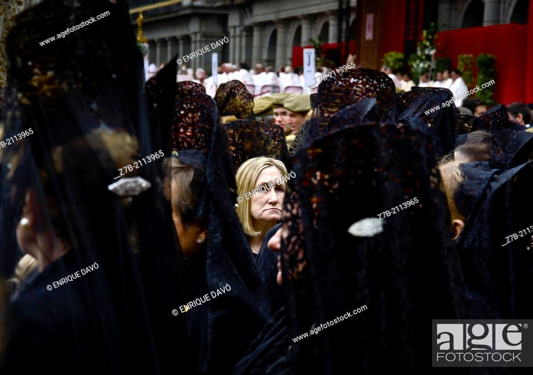 Stock Photo: A Spanish proccession in Major Square, Madrid, Spain.