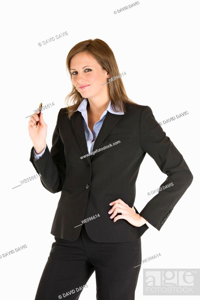 Stock Photo: Beautiful Caucasian businesswoman on a white background.