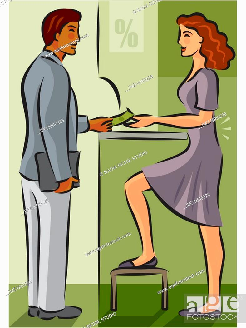 Stock Photo: A bank teller using a stool to help relieve lower back pain.