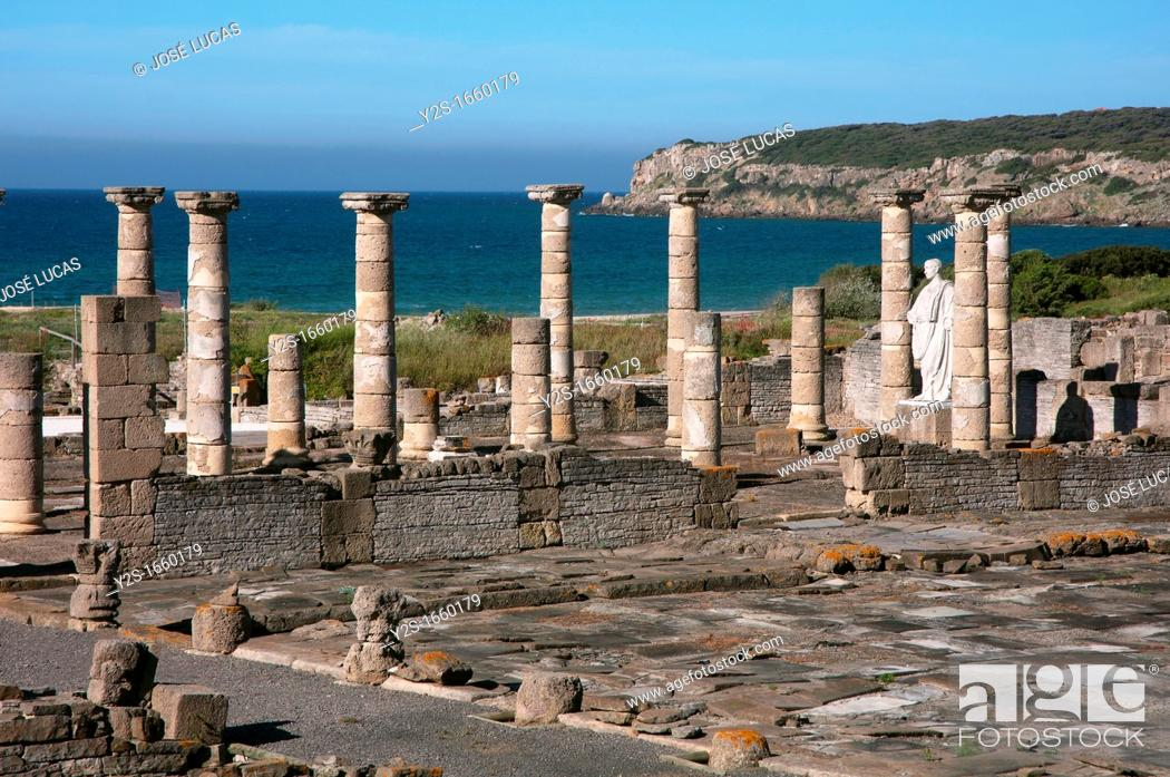 Stock Photo: Roman ruins of Baelo Claudia - basilica, Tarifa, Cadiz-province, Spain,.