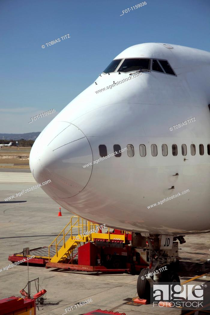 Stock Photo: Jumbo jet on runway.