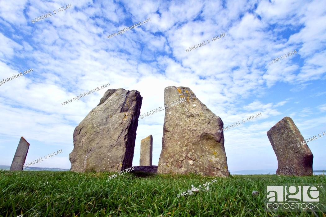 Stock Photo: Standing Stones of Stenness, Orkney Islands, Scotland  MORE INFO The Standing Stones of Stenness form an impressive Neolithic monument on the mainland of Orkney.