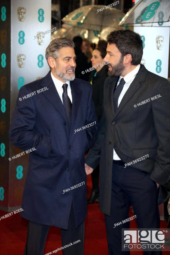 Stock Photo: Director Ben Affleck (r) and producer George Clooney arrive at the EE British Academy Film Awards at The Royal Opera House in London, England.
