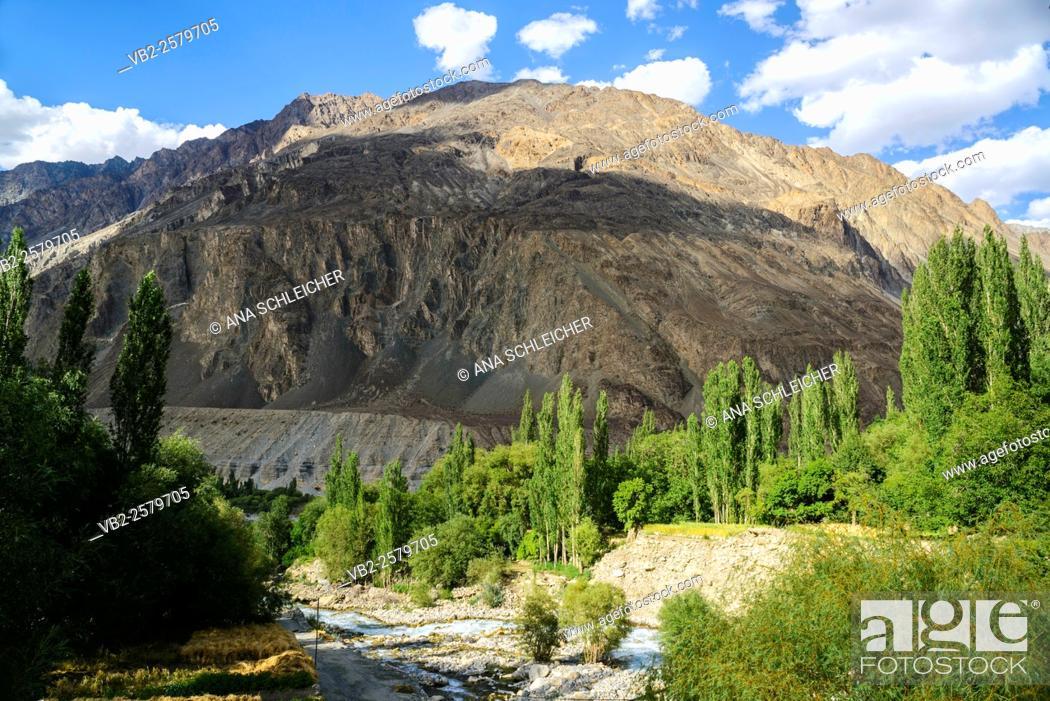 Stock Photo: Turtuk is the last village in Nubra Valle before the Pakistan border. Population here is muslim.