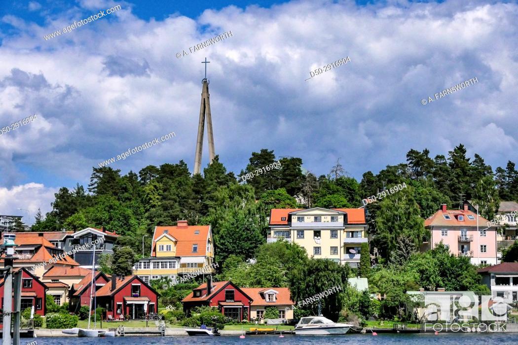 Stock Photo: STOCKHOLM, SWEDEN Nockeby neighborhood and Sankta Birgitta Church.