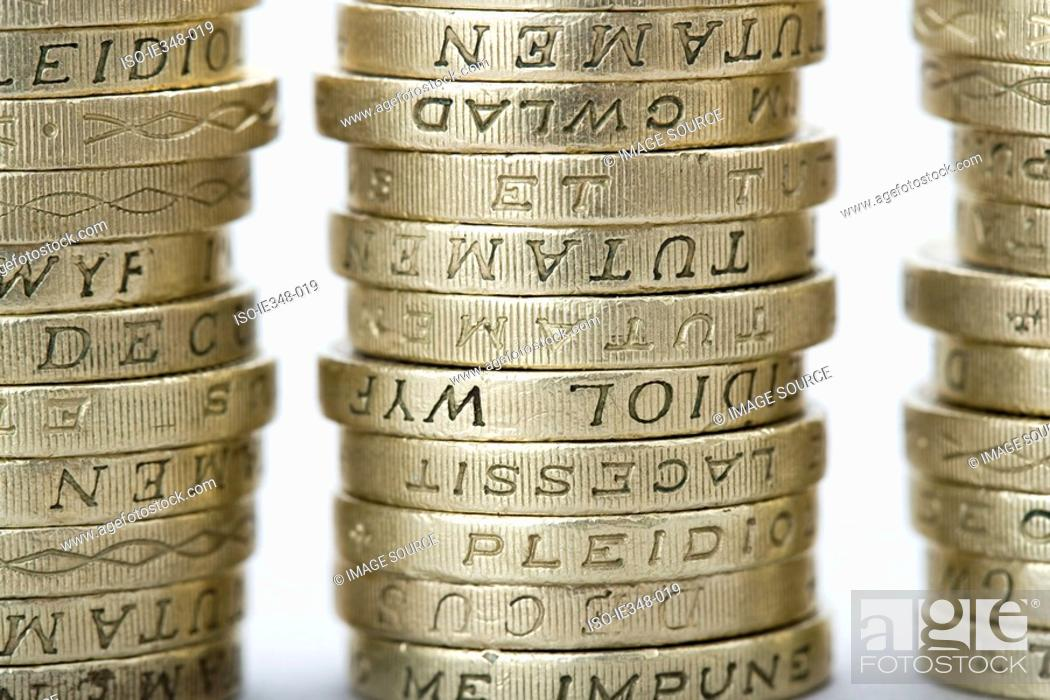 Stock Photo: Stacks of pound coins.