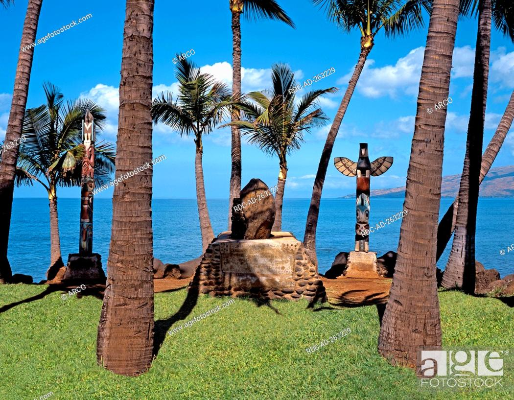 Stock Photo: Historical burial place beach of Kihei Island Maui Hawaii USA.