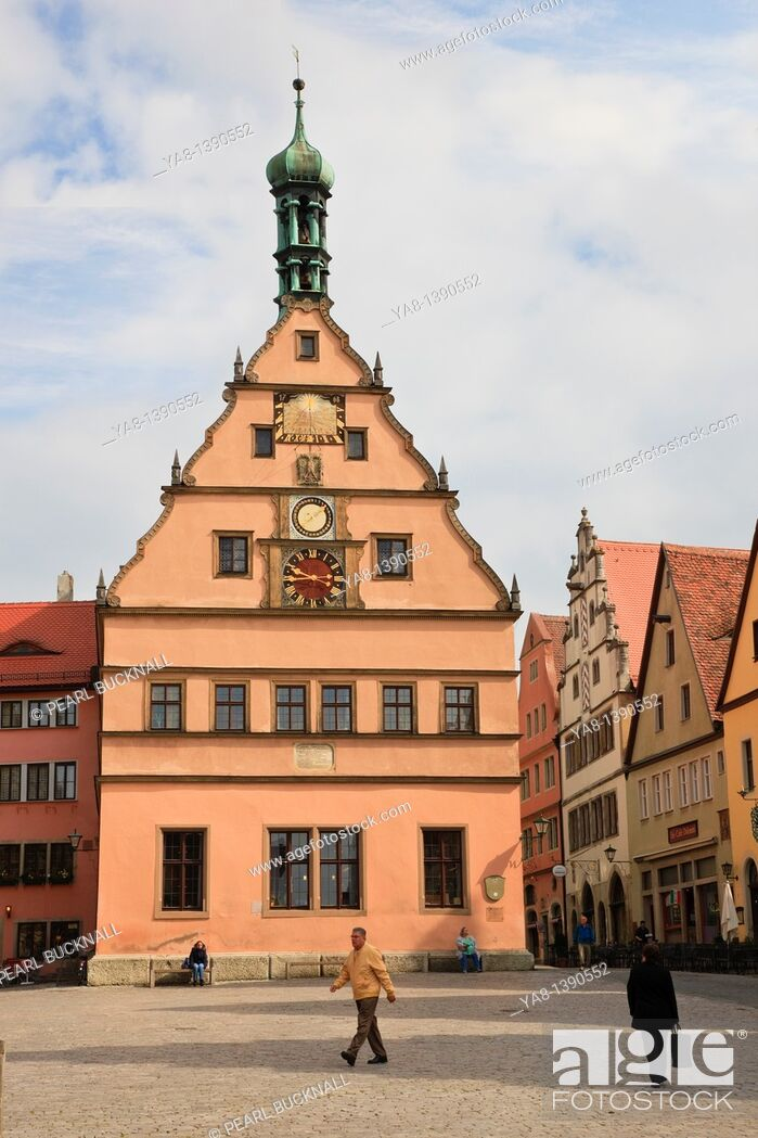 Stock Photo: Marktplatz, Rothenburg Ob der Tauber, Franconia, Bavaria, Germany, Europe  Clock Tower in cobbled town square now houses the Tourist Information.