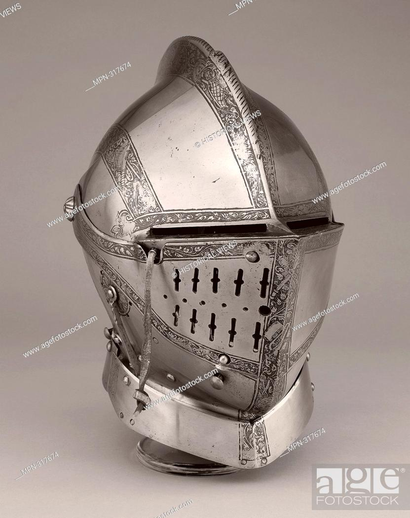 Stock Photo: Close Helmet for the Tourney - About 1560 - South German; Landshut. Steel and leather. 1550 - 1570.