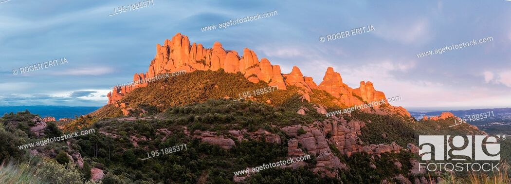 Stock Photo: Montserrat is Catalonia's Holy mountain containing a monastery and is made of agglomerate sedimentary rocks.