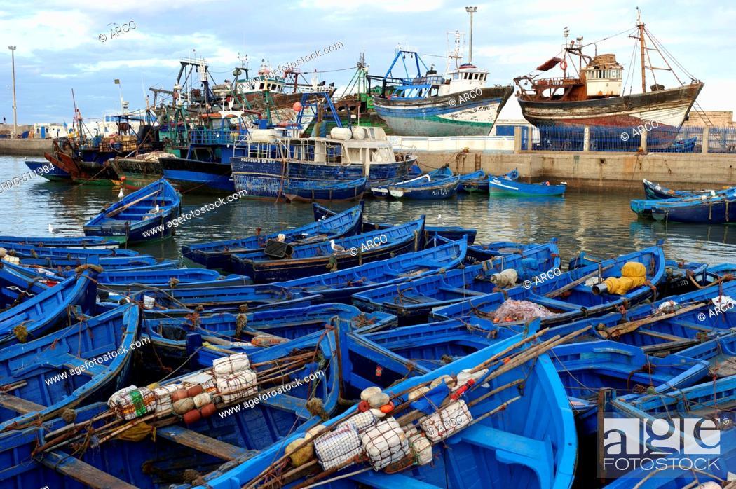 Stock Photo: Marocco, Africa, fishing boats, Port, Essaouira.
