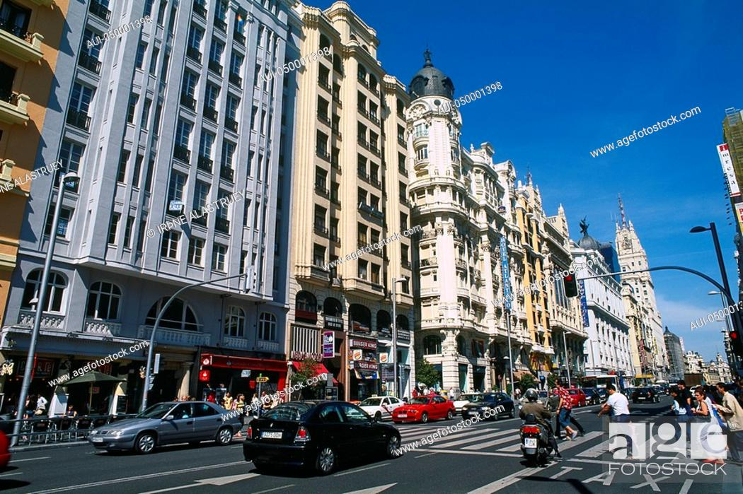 Stock Photo: Spain - Madrid - Gran Via - a showcase of early 20th century architecture.