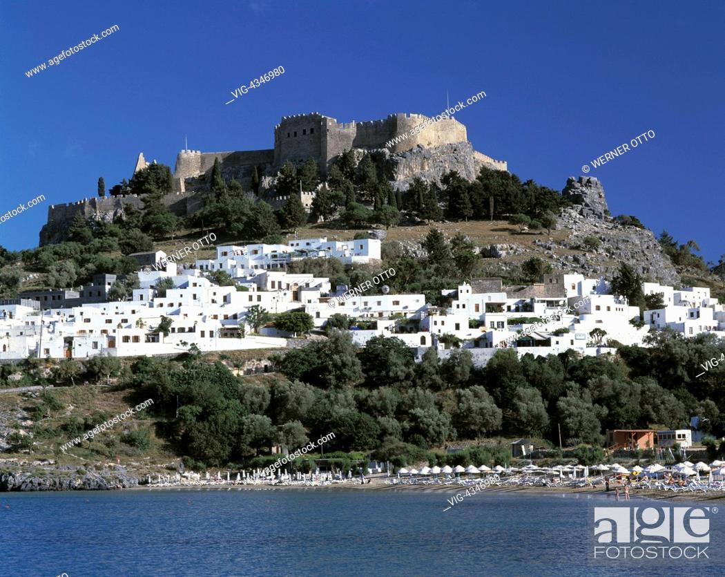 Griechenland Rhodos Dodekanes Gr Lindos Stadtansicht