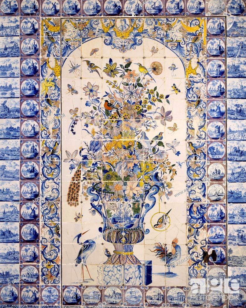 7b1ea280fc Stock Photo - Flowers and birds, detail of wall decorations, Delft tiles,  Chateau de Rambouillet, Ile-de-France. France, 18th century.