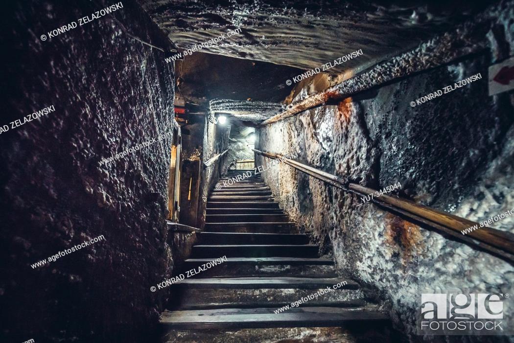 Stock Photo: Inside the salt mine in Cacica (Polish Kaczyka) village located in Suceava County, Bukovina region in Romania.