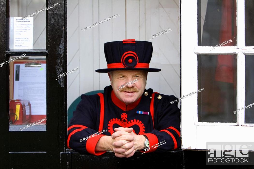 Stock Photo: A Yeoman Warder at the Tower of London in London England.
