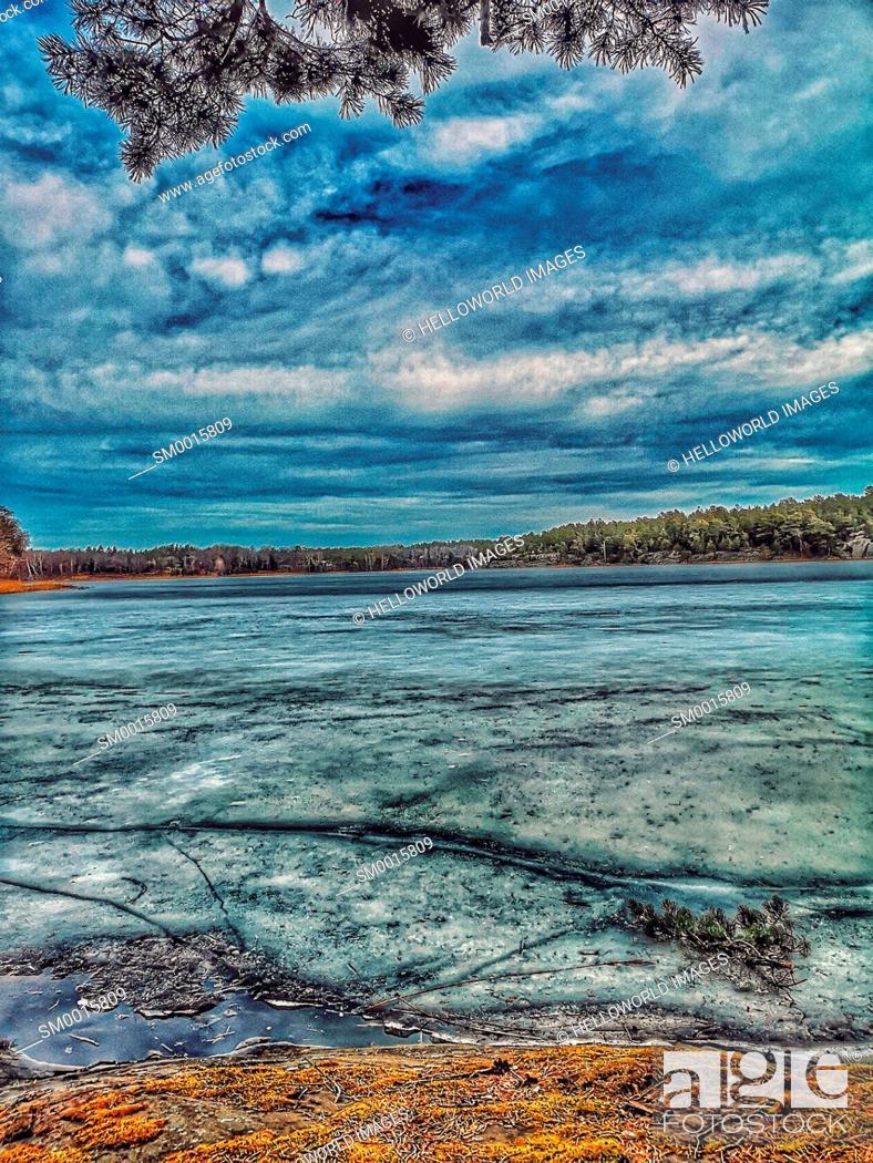 Stock Photo: Surface of frozen lake, Bjorno Nature Reserve, Stockholm archipelago, Sweden, Scandinavia.