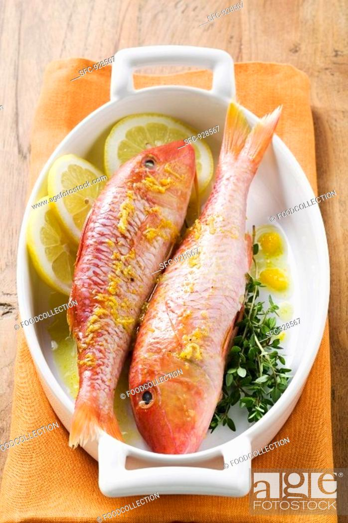 Stock Photo: Red mullet with lemon sauce and thyme.