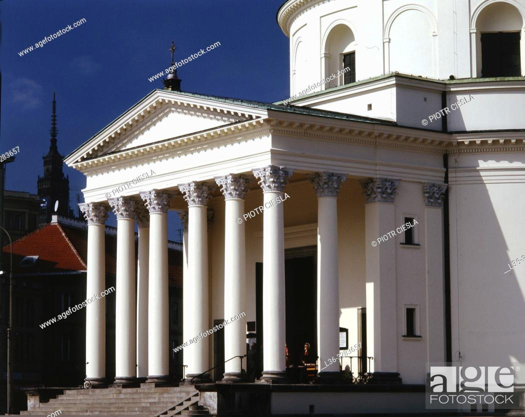 Stock Photo: Poland. Warsaw. Neoclassical St Alexander Church.