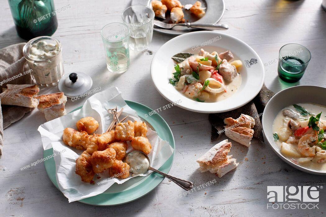 Stock Photo: Blue eye cod and seafood chowder.