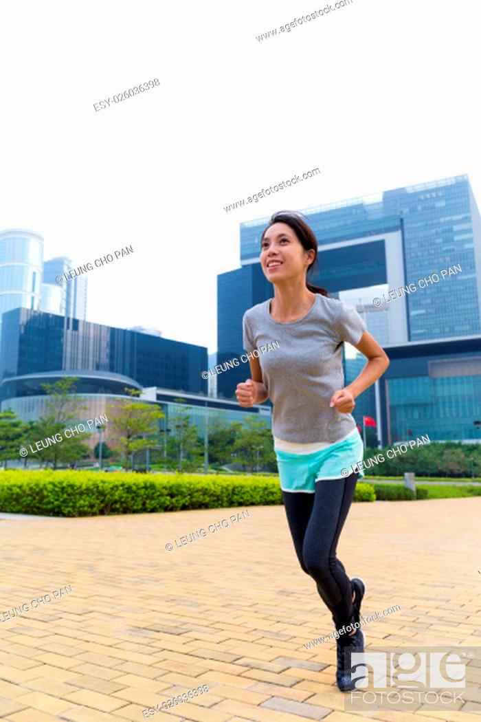 Stock Photo: Asian Woman do jogging at outdoor.