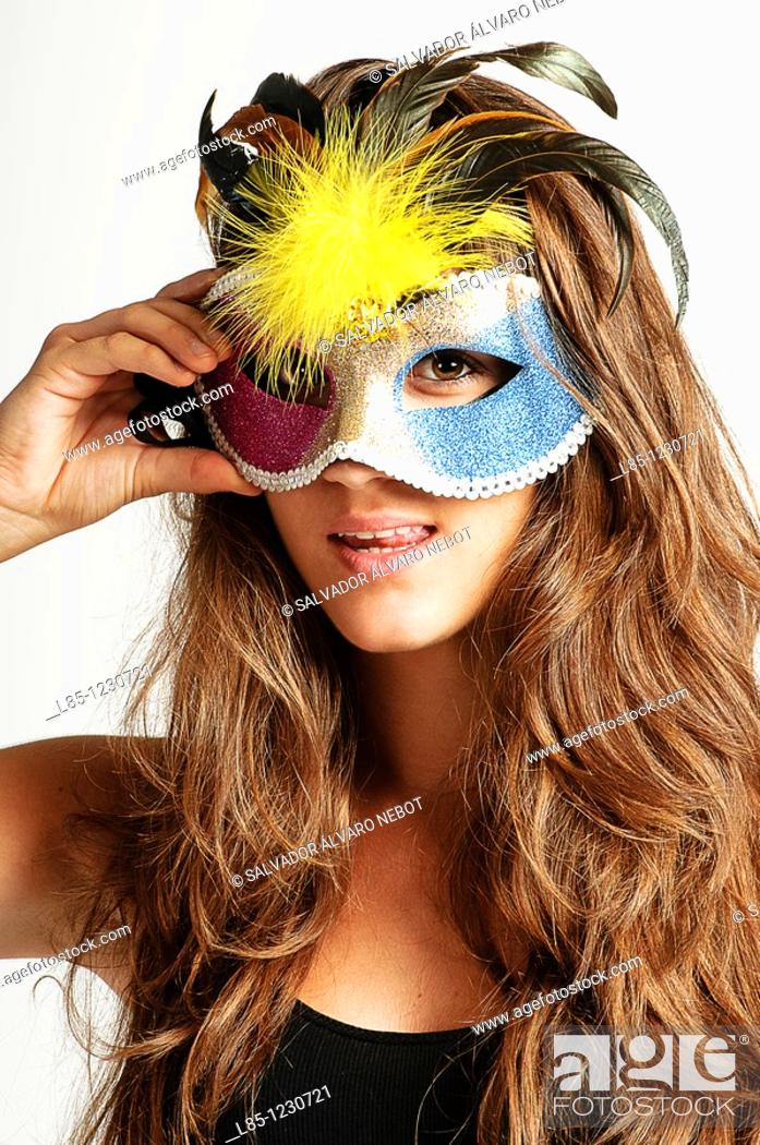 Stock Photo: Attractive woman with carnival mask.